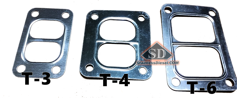 T-3, T-4, T-6 Gasket sized comparison